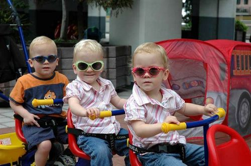 The Terrific Trio on the Kettler Trike.