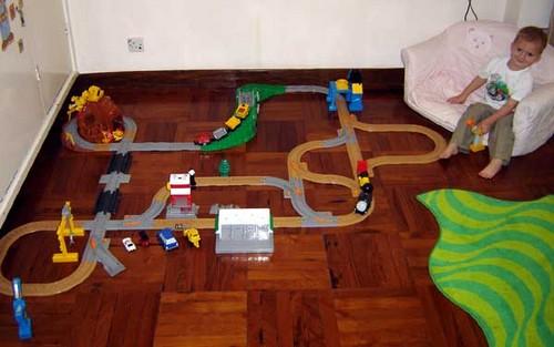 Sebastian's ever expanding GeoTrax train set.