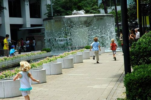 Running to the Fountain